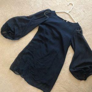 Dresses & Skirts - Navy Chiffon Polka Dot Dress
